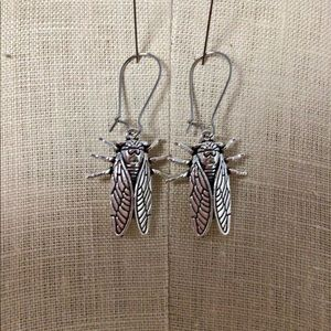 "2"" Silver Cicada Charm Earrings"